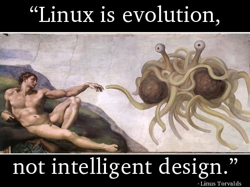 Linux is evolution, not intelligent design.